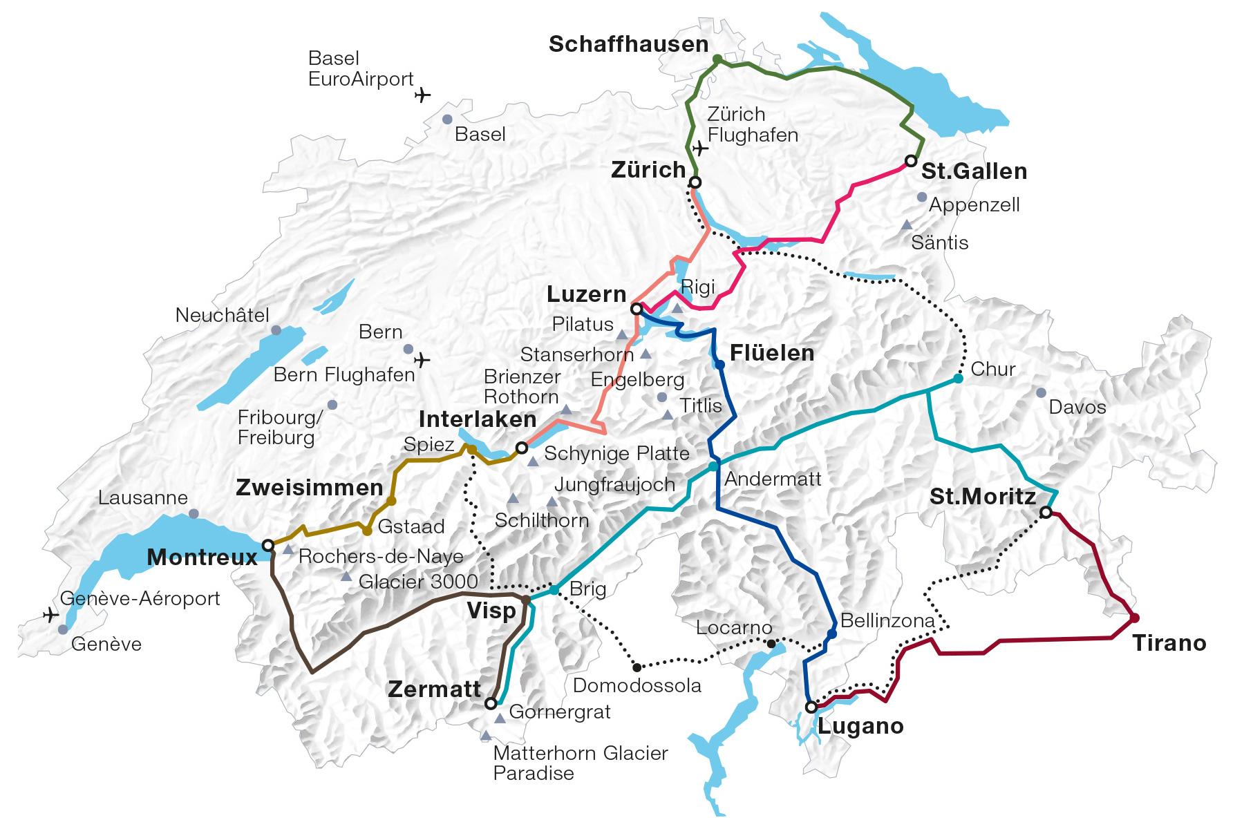 Karte Swiss Travel System